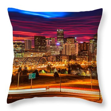 Denver Skyline Sunrise Throw Pillow