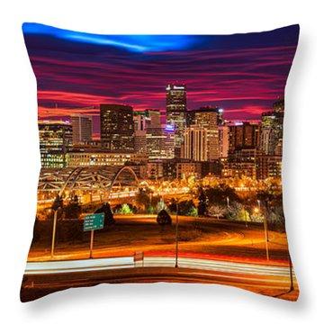 Denver Skyline Sunrise Throw Pillow