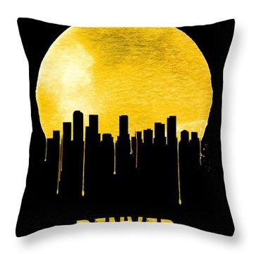 Denver Skyline Yellow Throw Pillow