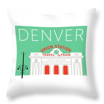 Denver Union Station/aqua Throw Pillow