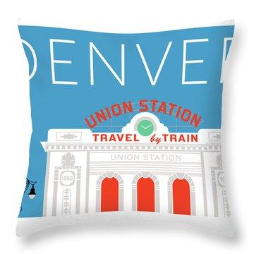 Denver Union Station/blue Throw Pillow