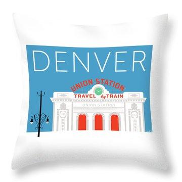 Denver Union Station/blue Throw Pillow