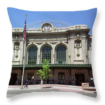 Throw Pillow featuring the photograph Denver - Union Station Film by Frank Romeo