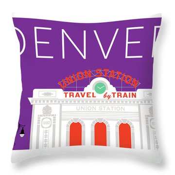 Denver Union Station/purple Throw Pillow