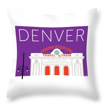 Denver Union Station/purple Throw Pillow