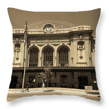 Throw Pillow featuring the photograph Denver - Union Station Sepia 5 by Frank Romeo