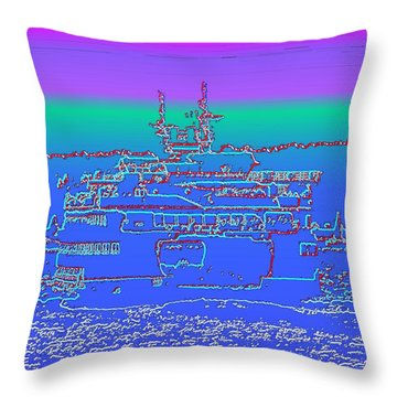 Departing Ferry Throw Pillow by Tim Allen