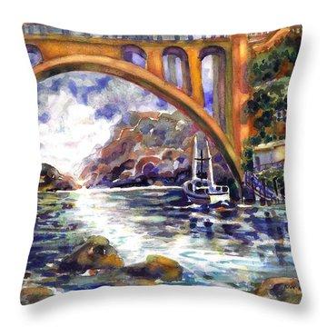 Depoe Bay Bridge Throw Pillow