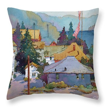 Depot By The River Throw Pillow