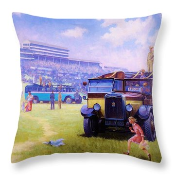 Derby Day Epsom Throw Pillow by Mike  Jeffries