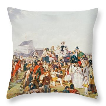Derby Day Throw Pillow by William Powell Frith