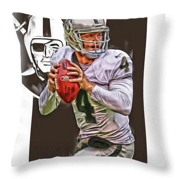 Derek Carr Oakland Raiders Oil Art Throw Pillow