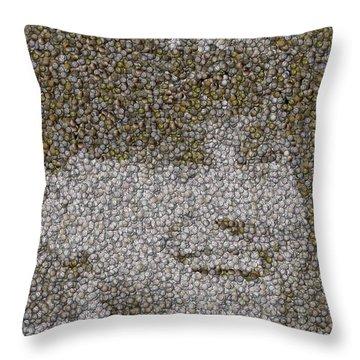 Derek Jeter Baseballs Mosaic Throw Pillow by Paul Van Scott
