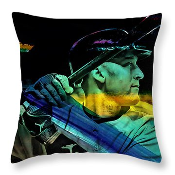 Derek Jeter Throw Pillow by Marvin Blaine