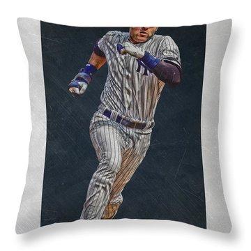 Derek Jeter New York Yankees Art 3 Throw Pillow by Joe Hamilton