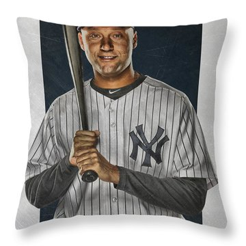 Derek Jeter New York Yankees Art Throw Pillow by Joe Hamilton
