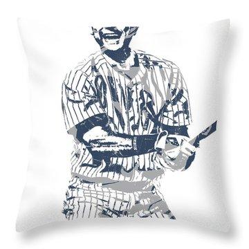 Derek Jeter New York Yankees Pixel Art 13 Throw Pillow