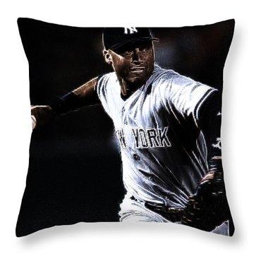 Derek Jeter Throw Pillow by Paul Ward