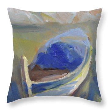 Derek's Boat. Throw Pillow by Julie Todd-Cundiff