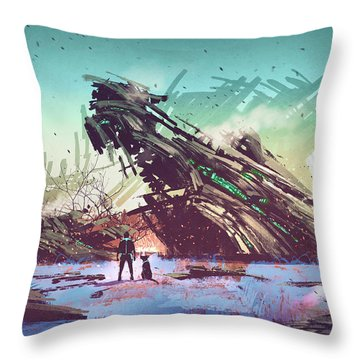 Derelict Ship Throw Pillow