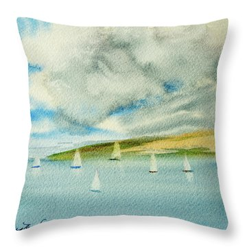 Dark Clouds Threaten Derwent River Sailing Fleet Throw Pillow