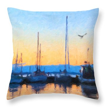 Derwent River Sunset Throw Pillow