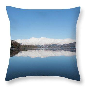 Derwentwater Winter Reflection Throw Pillow