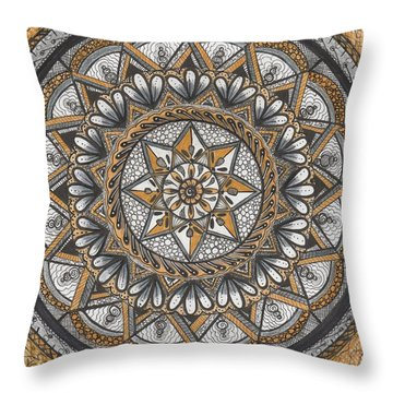 Des Tapestry In Gold-grey-black Throw Pillow by Kathy Sheeran