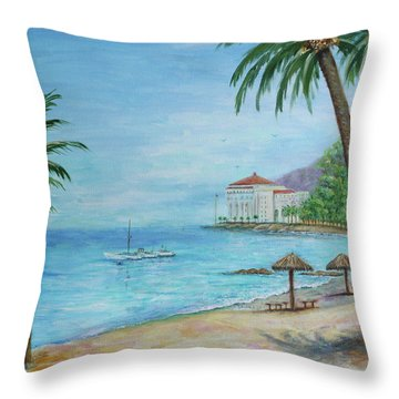 Descanso Beach, Catalina Throw Pillow