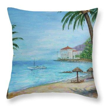 Descanso Beach, Catalina Throw Pillow