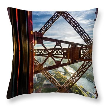 Descending In The Lift Of The Eiffel Tower. 1 Throw Pillow