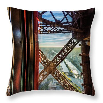Descending In The Lift Of The Eiffel Tower, Paris. France. Throw Pillow