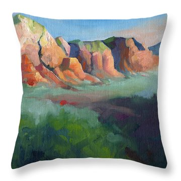 Desert Afternoon Mountains Sky And Trees Throw Pillow