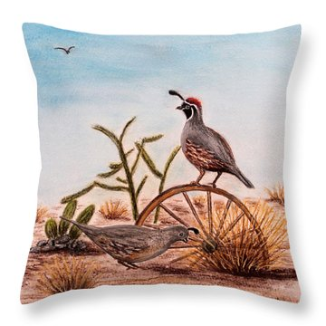 Throw Pillow featuring the painting Desert Art Gambels Quail by Judy Filarecki