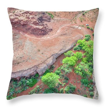 desert canyon in Utah aerial view Throw Pillow