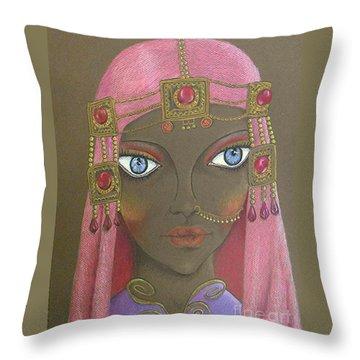 Desert Diva -- Whimsical Arabic Woman Throw Pillow