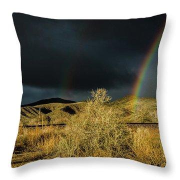Desert Double Rainbow Throw Pillow