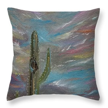 Throw Pillow featuring the painting Desert Dust by Judith Rhue