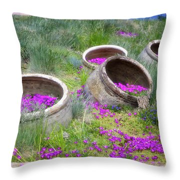 Desert Flowers Throw Pillow by Joan Carroll