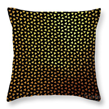 Desert Heat Triangular Black Gold Pattern Throw Pillow by Tina Lavoie