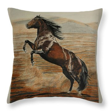 Throw Pillow featuring the drawing Desert Horse by Melita Safran