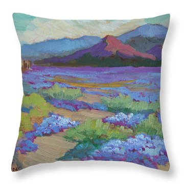 Throw Pillow featuring the painting Desert In Bloom by Diane McClary