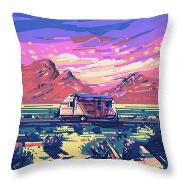 Desert Landscape Throw Pillow by Bekim Art