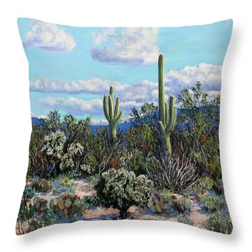 Throw Pillow featuring the painting Desert Landscape by M Diane Bonaparte