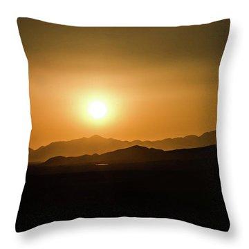 Desert Mountain Sunset Throw Pillow