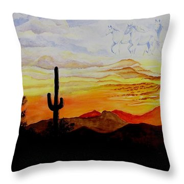 Desert Mustangs Throw Pillow by Jimmy Smith