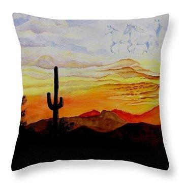 Desert Mustangs Throw Pillow