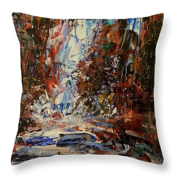 Throw Pillow featuring the painting Desert Oasis Waterfall by Reed Novotny