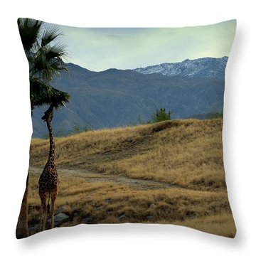 Desert Palm Giraffe 001 Throw Pillow