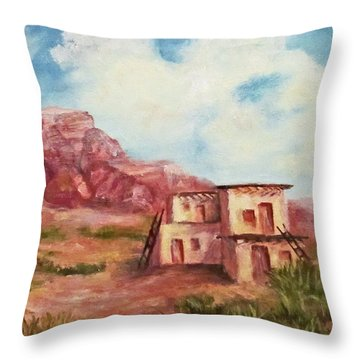 Throw Pillow featuring the painting Desert Pueblo by Roseann Gilmore